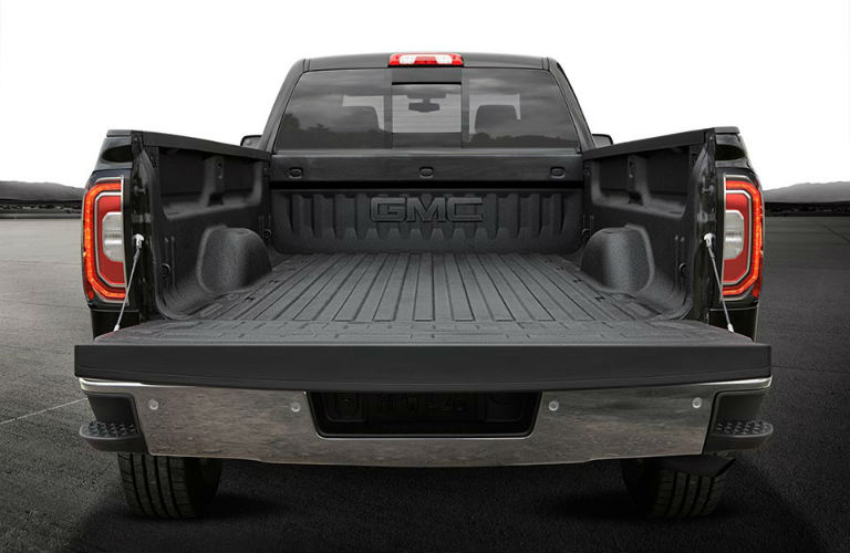 bed of the 2018 GMC Sierra showcasing the bed volume.